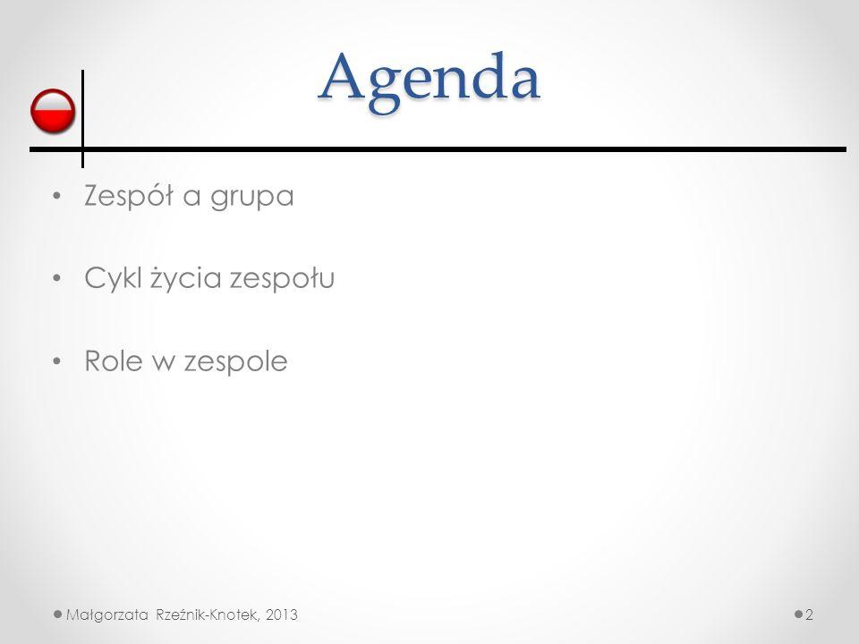 Agenda Zespół a grupa Cykl życia zespołu Role w zespole