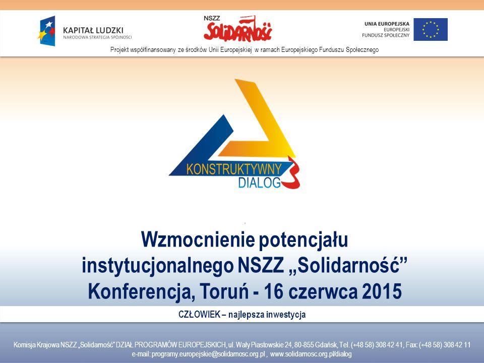 """Wzmocnienie potencjału instytucjonalnego NSZZ """"Solidarność"""