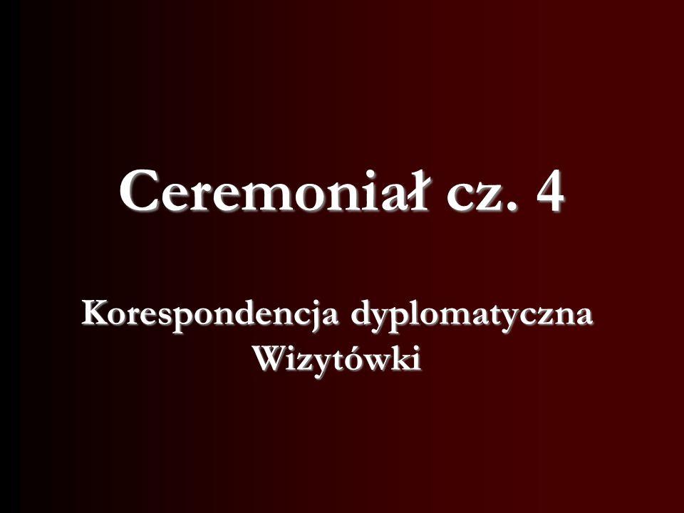 Korespondencja dyplomatyczna Wizytówki