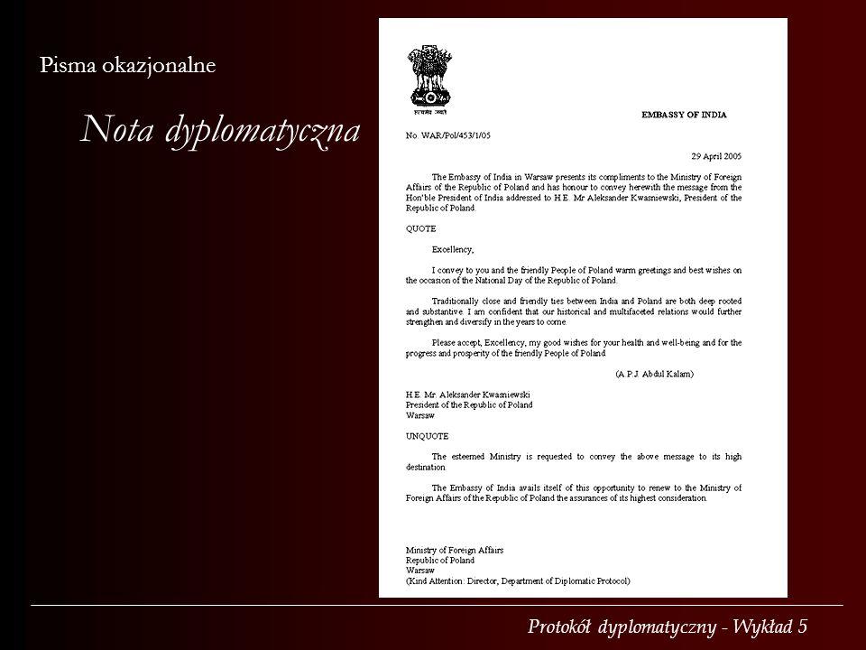Nota dyplomatyczna Pisma okazjonalne