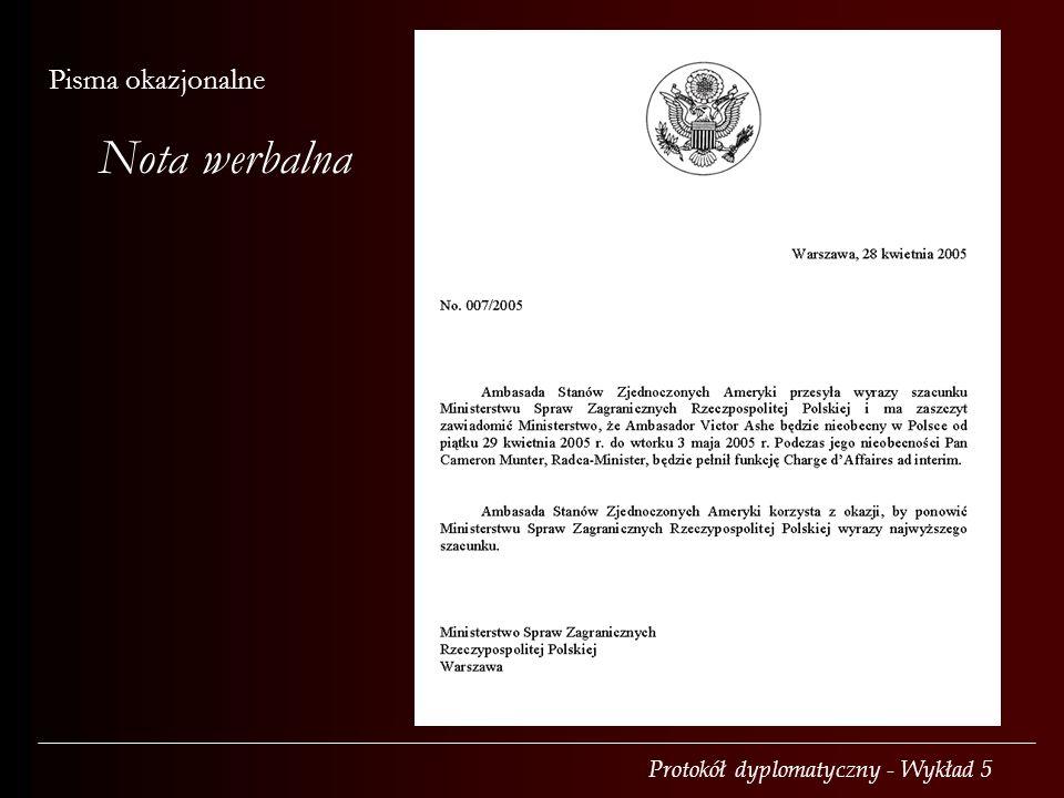Nota werbalna Pisma okazjonalne Adresowana od urzędu do urzędu