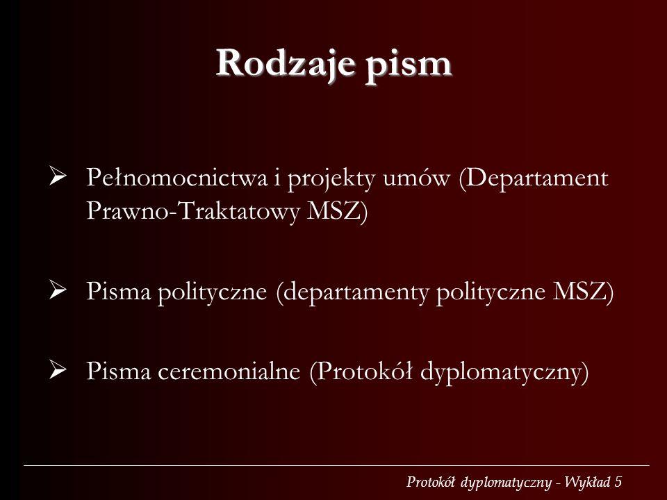 Rodzaje pism Pełnomocnictwa i projekty umów (Departament Prawno-Traktatowy MSZ) Pisma polityczne (departamenty polityczne MSZ)