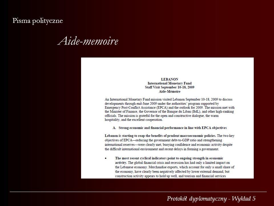 Aide-memoire Pisma polityczne
