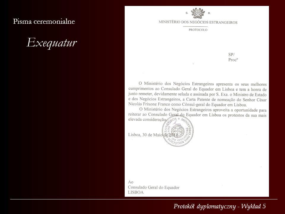 Exequatur Pisma ceremonialne