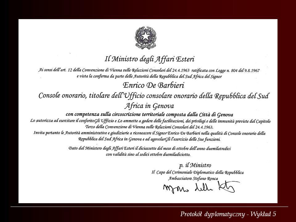 Exequatur wystawia się też konsulom honorowym