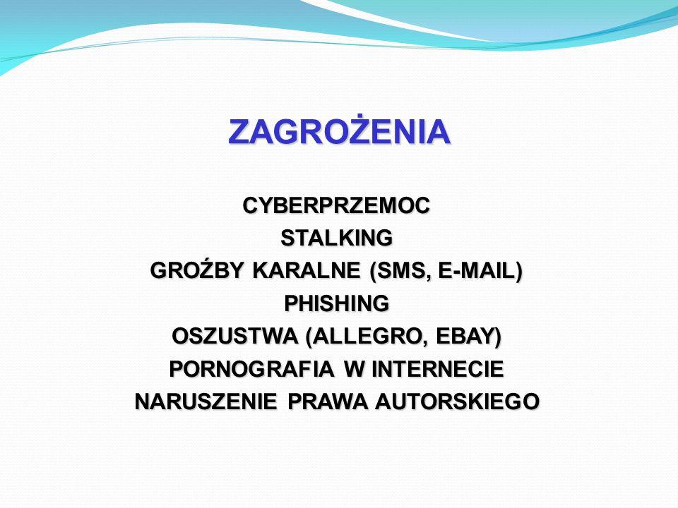 ZAGROŻENIA CYBERPRZEMOC STALKING GROŹBY KARALNE (SMS, E-MAIL) PHISHING