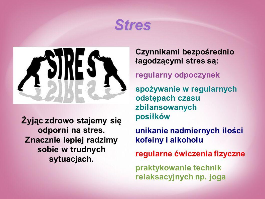 Stres Czynnikami bezpośrednio łagodzącymi stres są: regularny odpoczynek. spożywanie w regularnych odstępach czasu zbilansowanych posiłków.