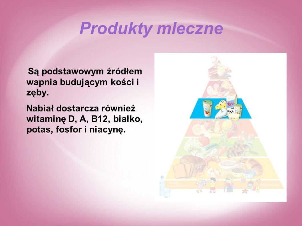 Produkty mleczne Są podstawowym źródłem wapnia budującym kości i zęby.