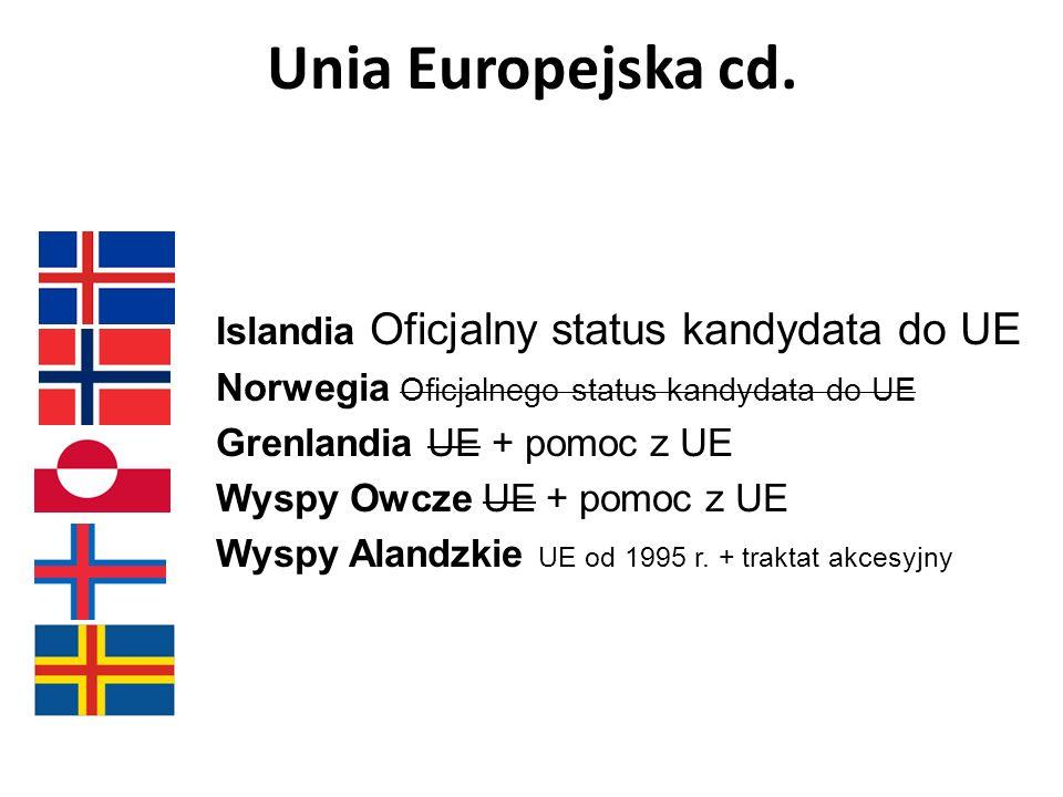 Unia Europejska cd. Islandia Oficjalny status kandydata do UE