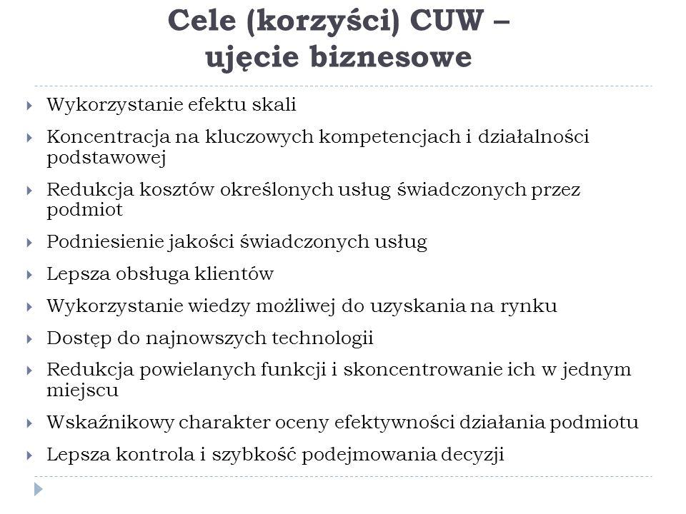 Cele (korzyści) CUW – ujęcie biznesowe
