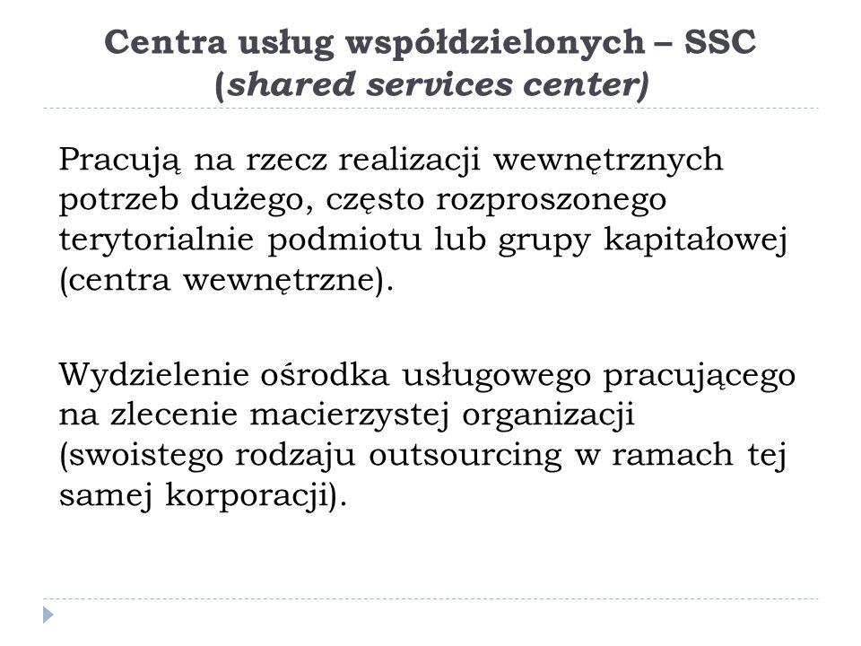 Centra usług współdzielonych – SSC (shared services center)