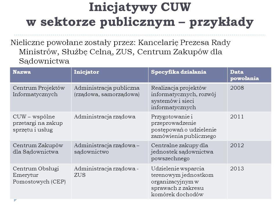 Inicjatywy CUW w sektorze publicznym – przykłady
