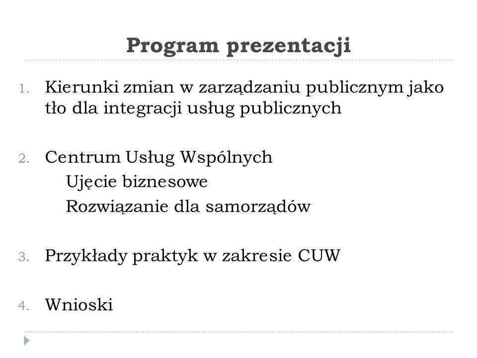 Program prezentacji Kierunki zmian w zarządzaniu publicznym jako tło dla integracji usług publicznych.