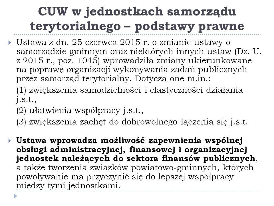 CUW w jednostkach samorządu terytorialnego – podstawy prawne