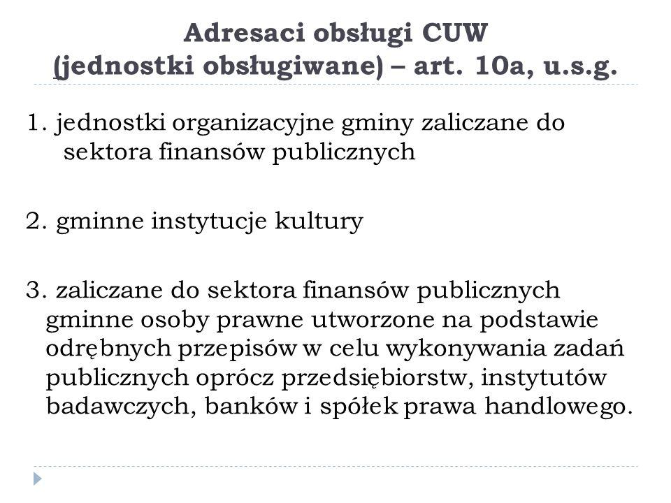 Adresaci obsługi CUW (jednostki obsługiwane) – art. 10a, u.s.g.