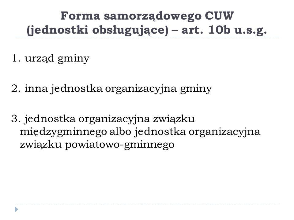 Forma samorządowego CUW (jednostki obsługujące) – art. 10b u.s.g.