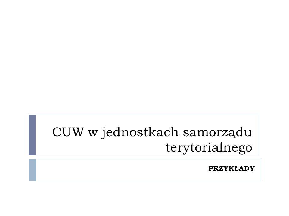 CUW w jednostkach samorządu terytorialnego