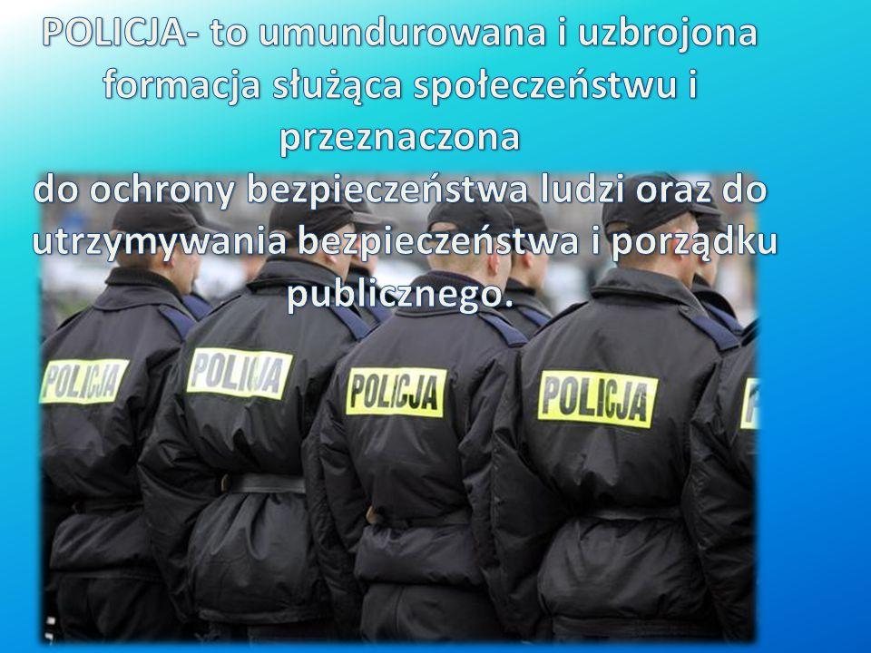 POLICJA- to umundurowana i uzbrojona