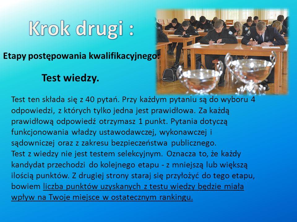 Krok drugi : Test wiedzy. Etapy postępowania kwalifikacyjnego: