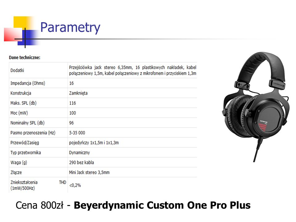 Parametry Cena 800zł - Beyerdynamic Custom One Pro Plus