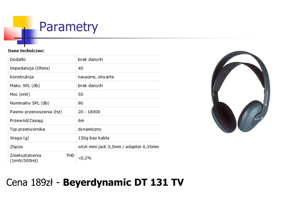 Parametry Cena 189zł - Beyerdynamic DT 131 TV