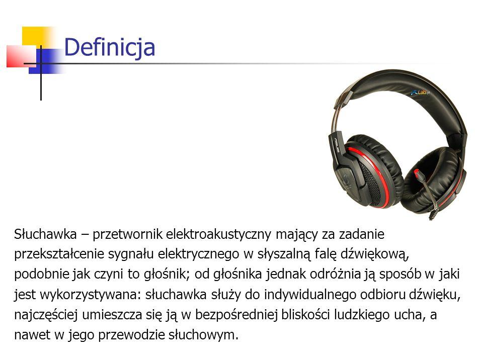 Definicja Słuchawka – przetwornik elektroakustyczny mający za zadanie