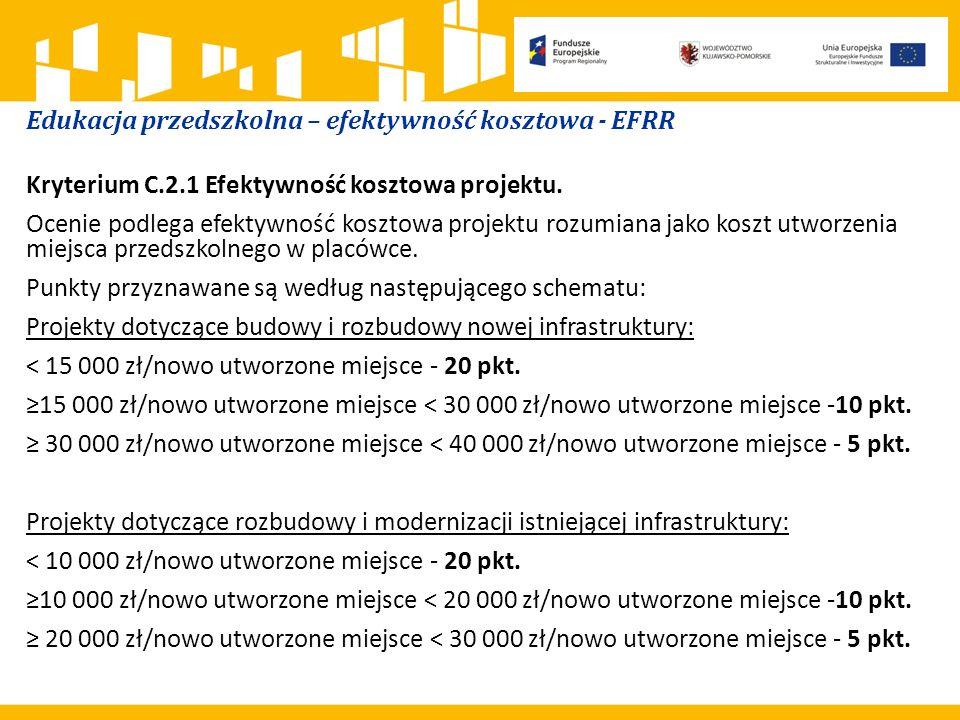 Edukacja przedszkolna – efektywność kosztowa - EFRR