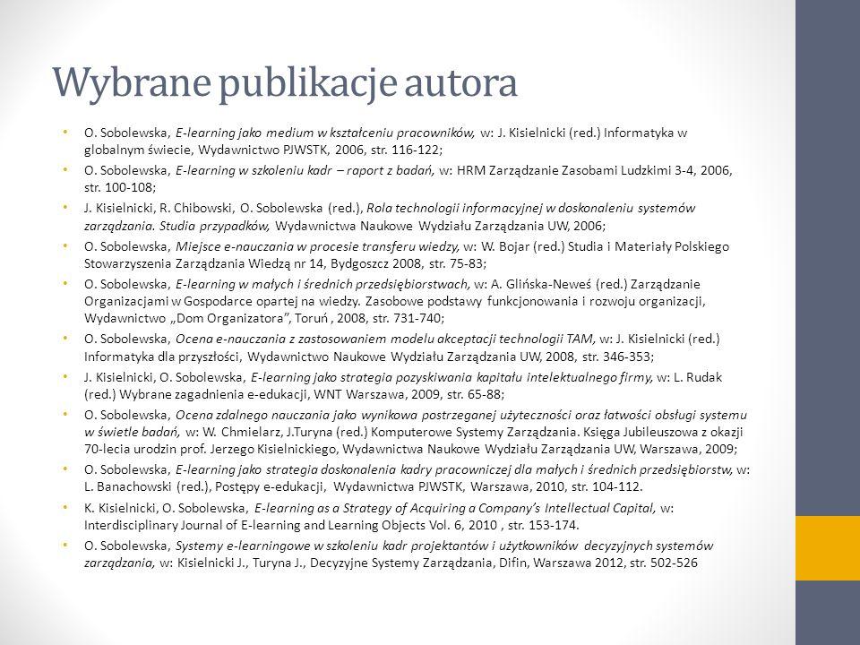Wybrane publikacje autora