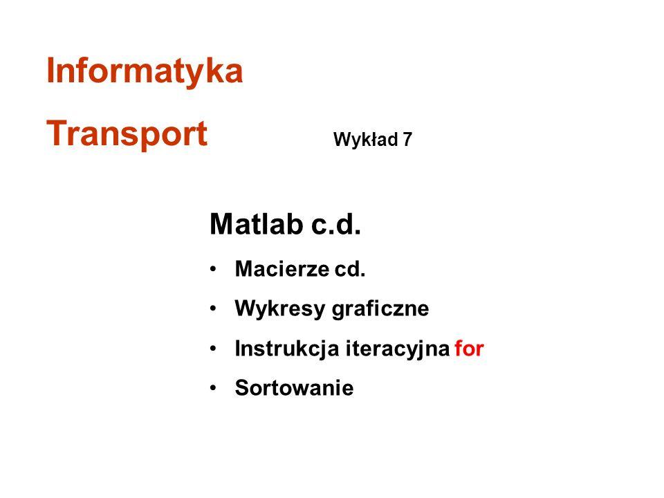 Informatyka Transport Matlab c.d. Macierze cd. Wykresy graficzne