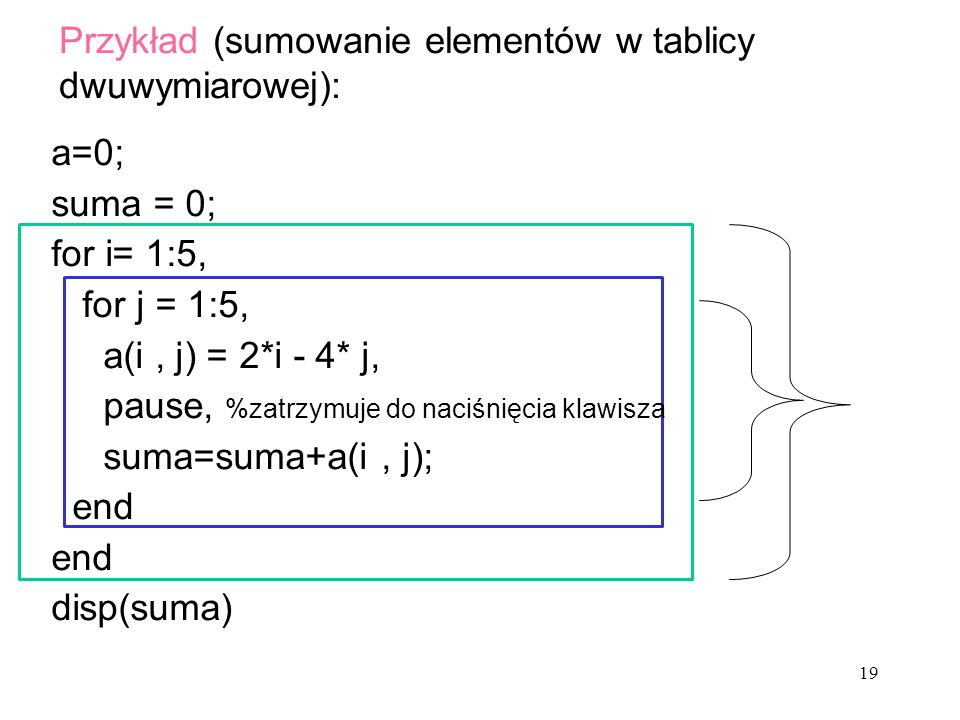 Przykład (sumowanie elementów w tablicy dwuwymiarowej):