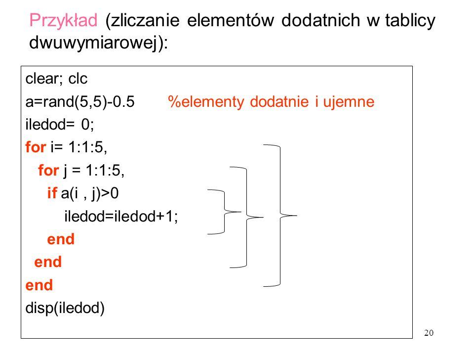 Przykład (zliczanie elementów dodatnich w tablicy dwuwymiarowej):