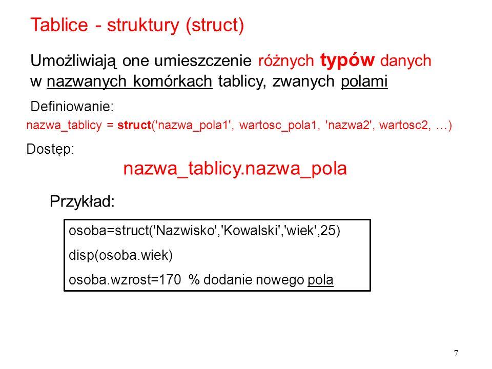 Tablice - struktury (struct)