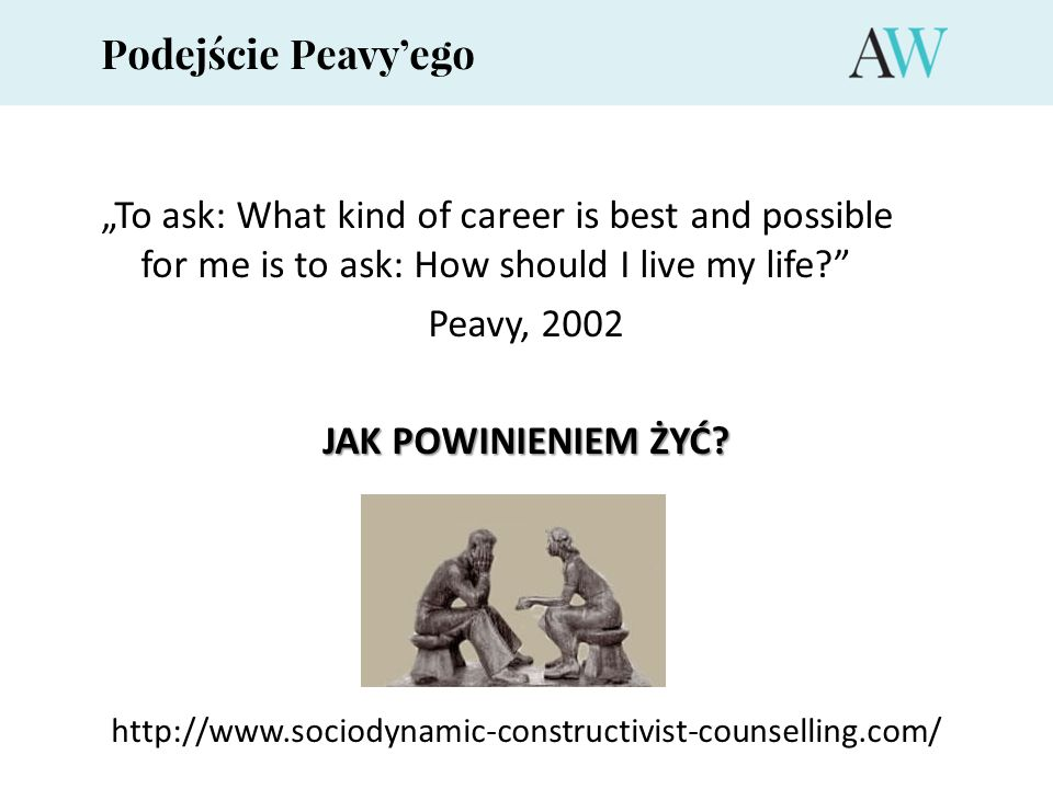 "Podejście Peavy'ego ""To ask: What kind of career is best and possible for me is to ask: How should I live my life"