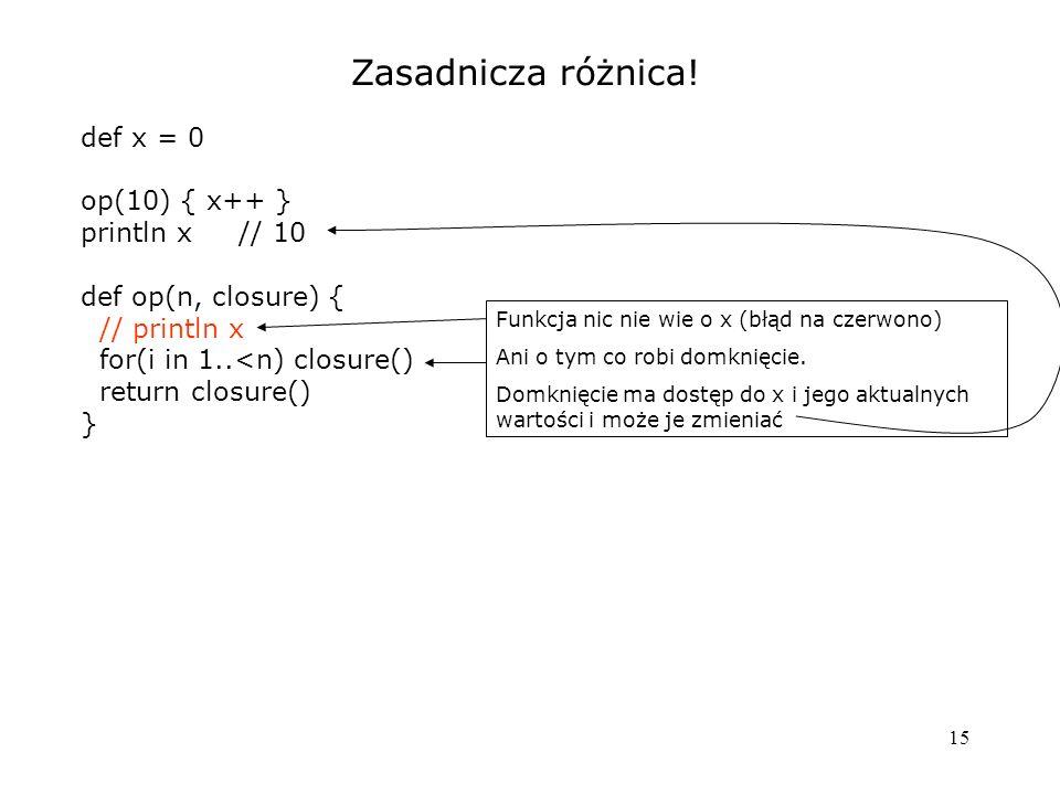 Zasadnicza różnica! def x = 0 op(10) { x++ } println x // 10
