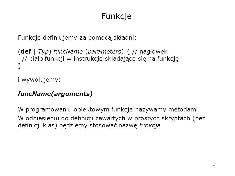 Funkcje Funkcje definiujemy za pomocą składni: