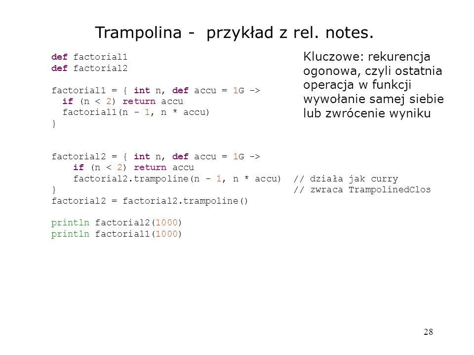 Trampolina - przykład z rel. notes.