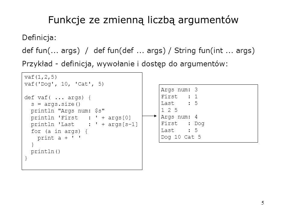 Funkcje ze zmienną liczbą argumentów