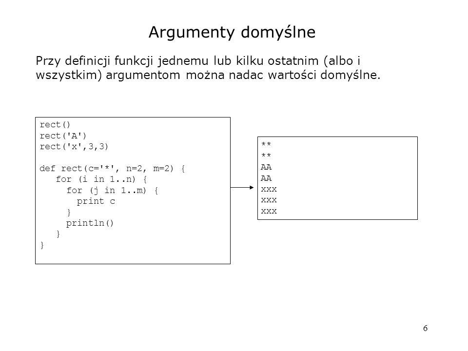 Argumenty domyślne Przy definicji funkcji jednemu lub kilku ostatnim (albo i wszystkim) argumentom można nadac wartości domyślne.