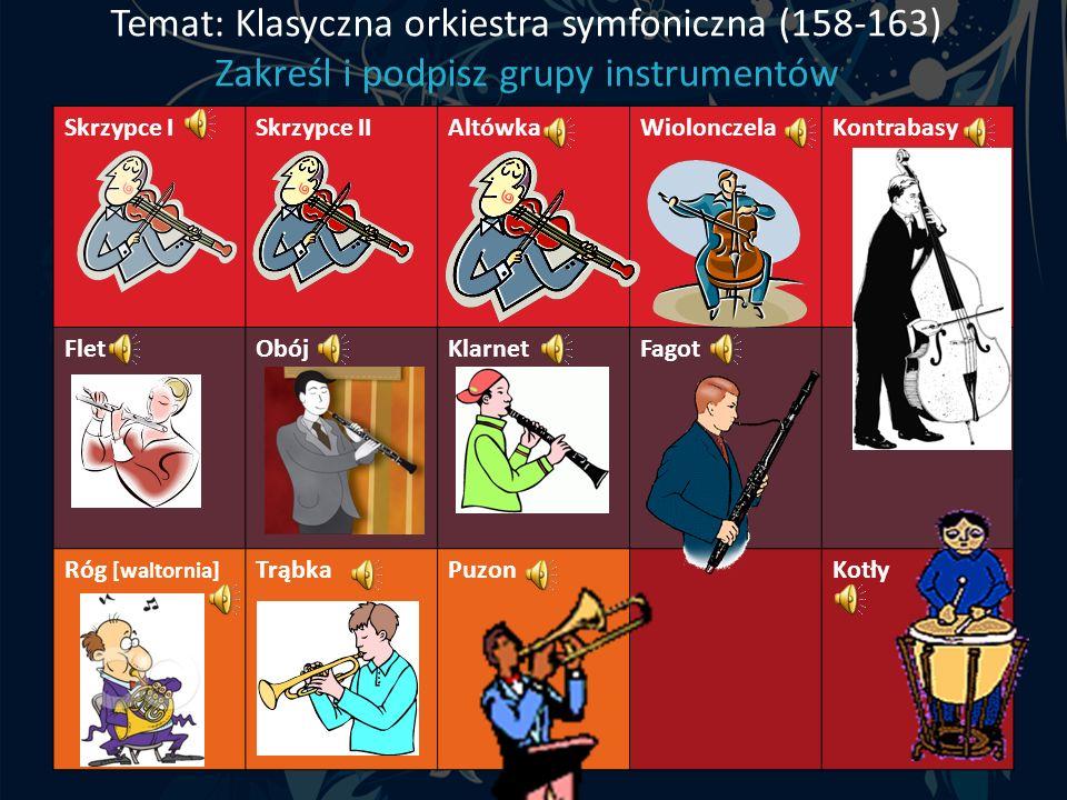 Temat: Klasyczna orkiestra symfoniczna (158-163) Zakreśl i podpisz grupy instrumentów