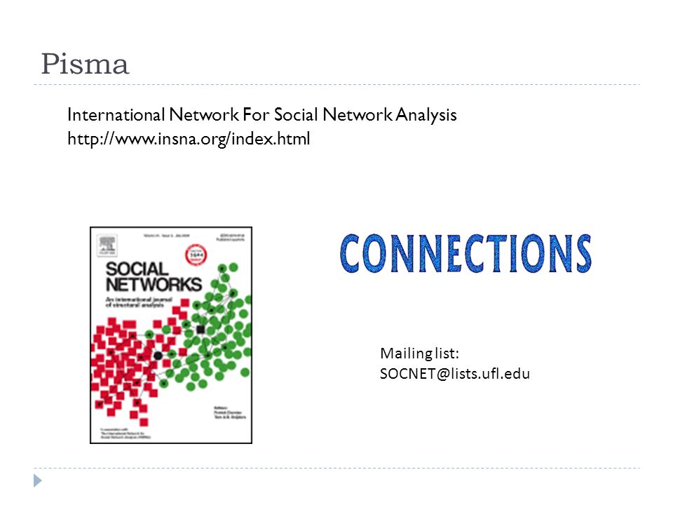 Pisma International Network For Social Network Analysis http://www.insna.org/index.html Mailing list: