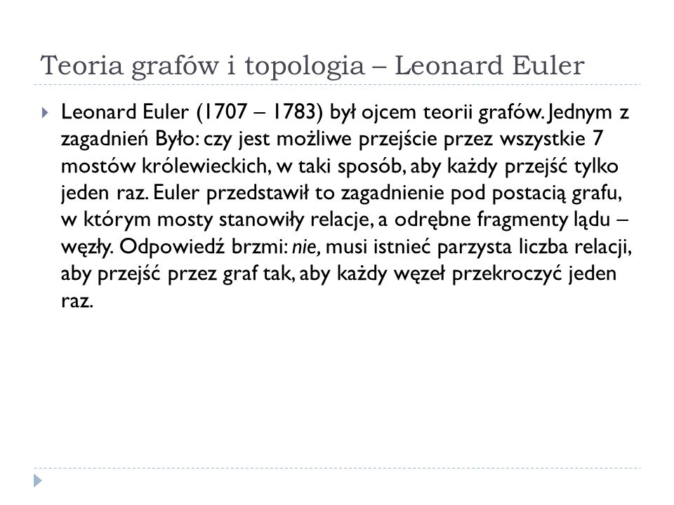 Teoria grafów i topologia – Leonard Euler