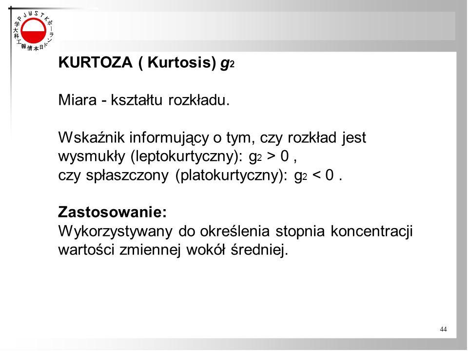KURTOZA ( Kurtosis) g2 Miara - kształtu rozkładu. Wskaźnik informujący o tym, czy rozkład jest. wysmukły (leptokurtyczny): g2 > 0 ,