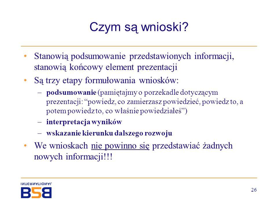 Czym są wnioski Stanowią podsumowanie przedstawionych informacji, stanowią końcowy element prezentacji.