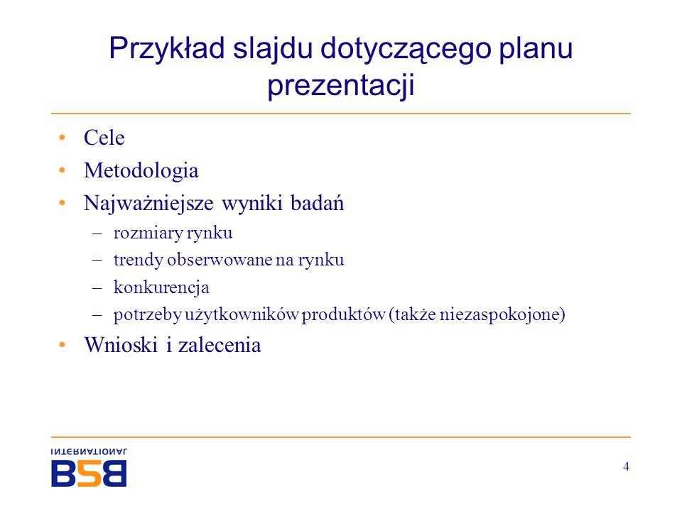 Przykład slajdu dotyczącego planu prezentacji
