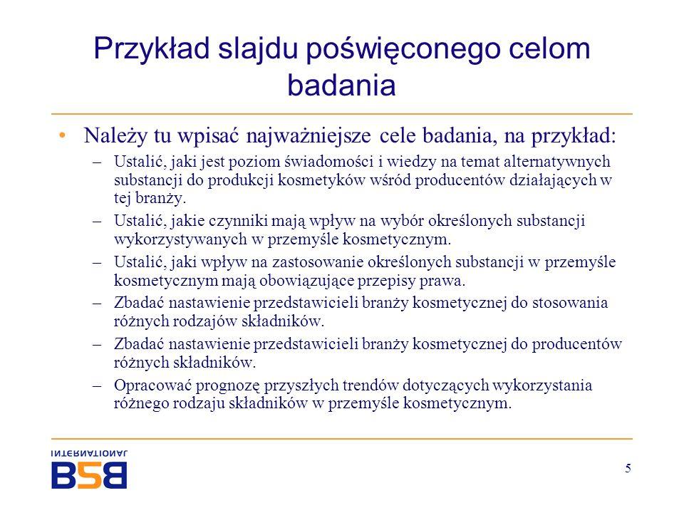 Przykład slajdu poświęconego celom badania