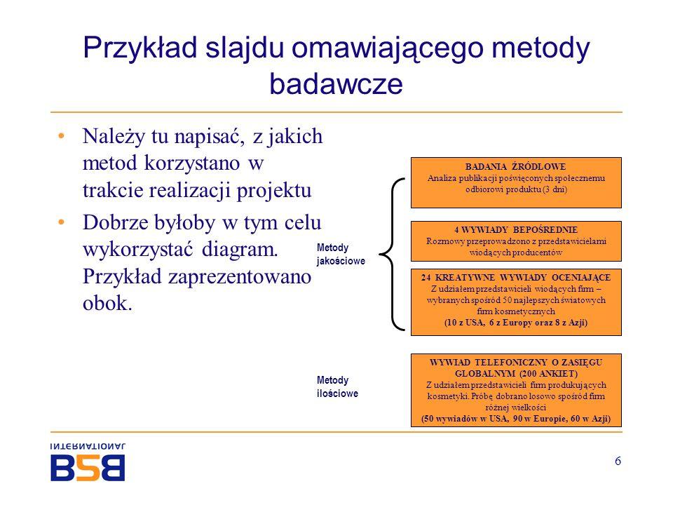 Przykład slajdu omawiającego metody badawcze