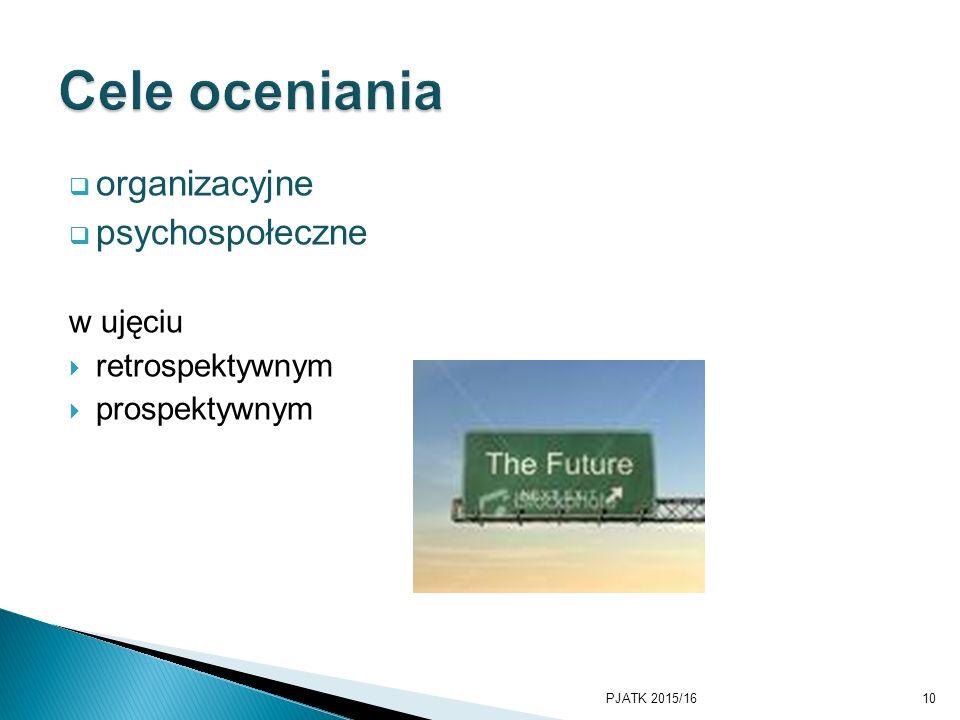 Cele oceniania organizacyjne psychospołeczne w ujęciu retrospektywnym