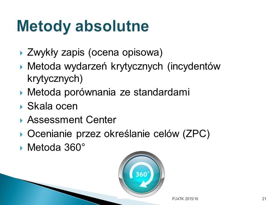 Metody absolutne Zwykły zapis (ocena opisowa)