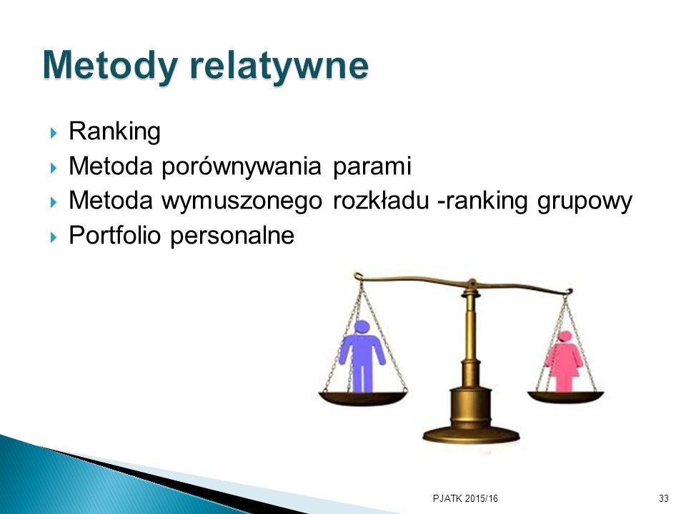 Metody relatywne Ranking Metoda porównywania parami