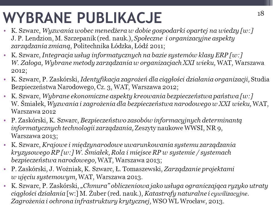 WYBRANE PUBLIKACJE